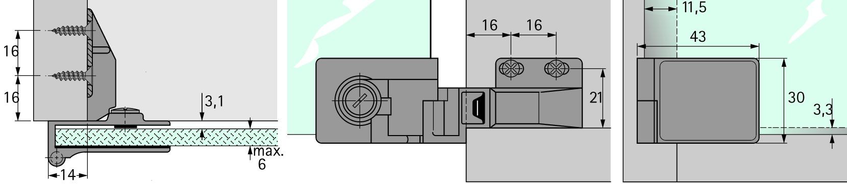 Charnières pour portes en verre HETTICH ET 5160