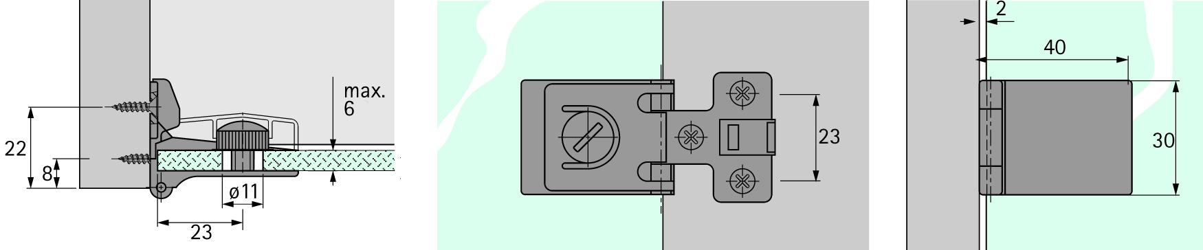 Charnières pour portes en verre HETTICH ET 5150 Z