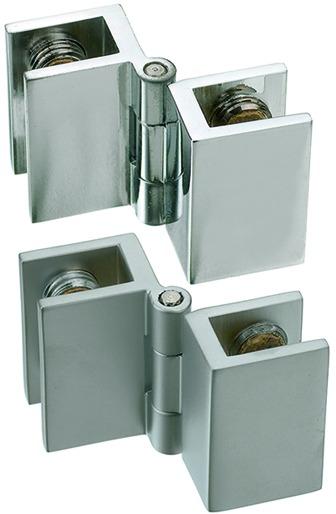 Charnières doubles pour portes en verre, pour montage à l'équerre