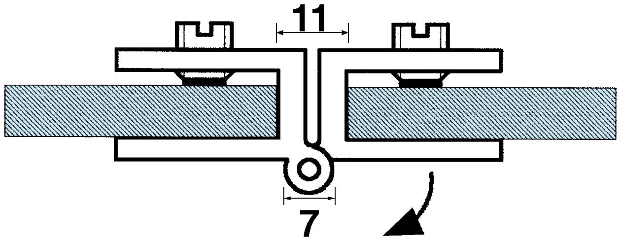 Charnières doubles, pour portes en verre, pour montage afleur