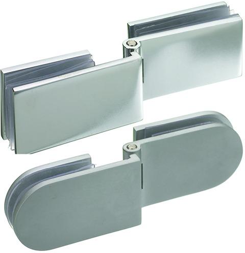 Charnières doubles pour portes en verre pour montage  à l'équerre