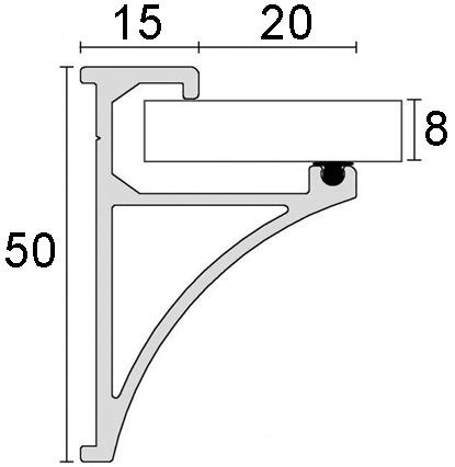 Profils porteur pour rayons en verre