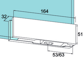 Ferramenta angolare inferiore PT 10 per impianti completamente in vetro DORMA Universal