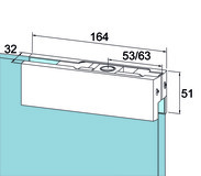 Ferrement d'angle supérieur PT 20 pour installations entièrement en verre DORMA Universal