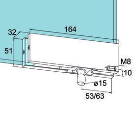 Ferrement d'imposte PT 30 pour installations entièrement en verre DORMA Universal