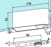 Ferrement d'angle inférieur pour installations entièrement en verre DORMA Universal