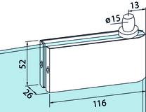 Ferrement d'angle supérieur pour installations entièrement en verre DORMA Universal