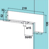 Ferrement pour imposte d'angle PT 40 pour installations entièrement en verre DORMA Universal