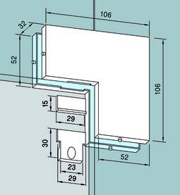 Congiunzione ad angolo PT 60/61 per impianti completamente in vetro DORMA Universal