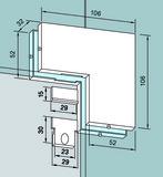 Equerre de fixation PT 60/61 pour installations entièrement en verre DORMA Universal
