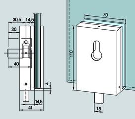 Serratura ad angolo per impianti completamente in vetro DORMA Universal