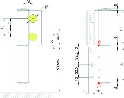 Cerniera idraulica Biloba EVO / vetro/parete