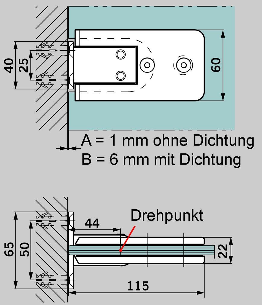 Duschpendeltürbänder GRAL BF 111