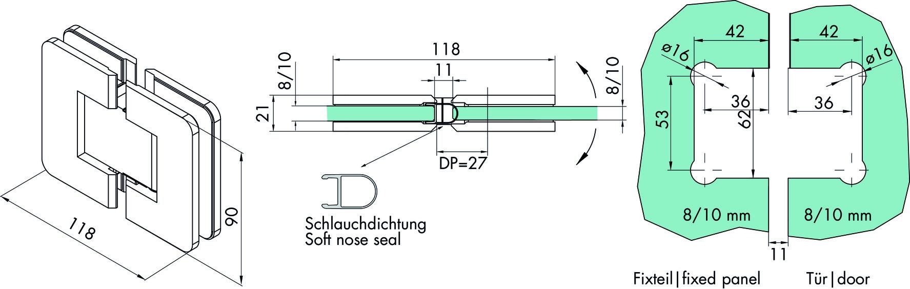 Duschpendeltürbänder GRAL S 2004