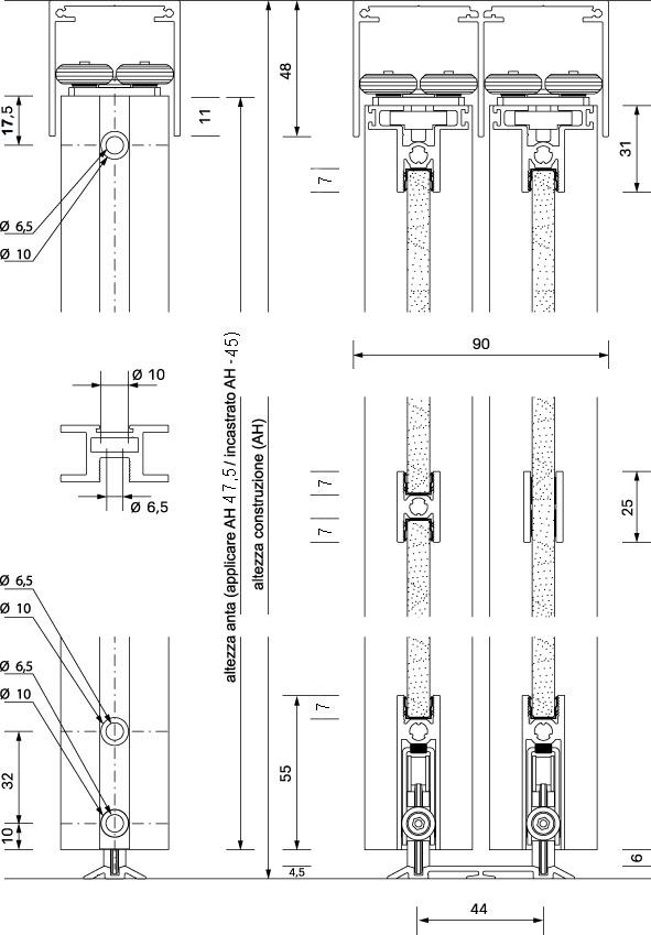 Ferramenta per porte scorrevoli OK-LINE Slideflex AR 80