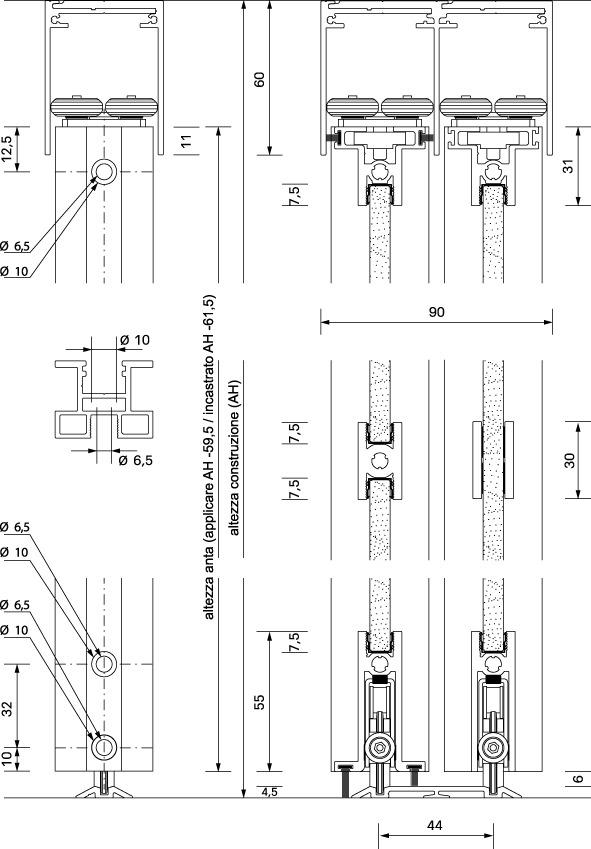 Ferramenta per porte scorrevoli OK-LINE Slideflex AR 100