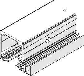 Kit di rotaie per montaggio integrato nel soffitto con e senza vetri fissi