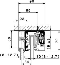 Laufschienensets Deckenmontage für Festglasprofil