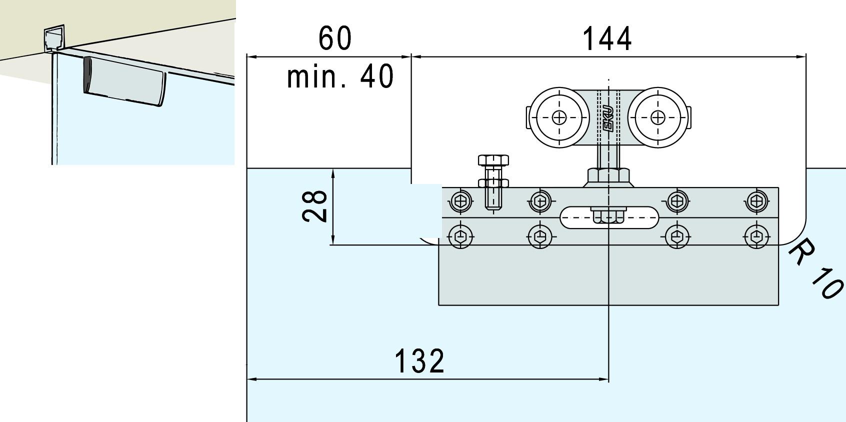 Ferramenta per ante scorrevoli EKU-PORTA 100 GM