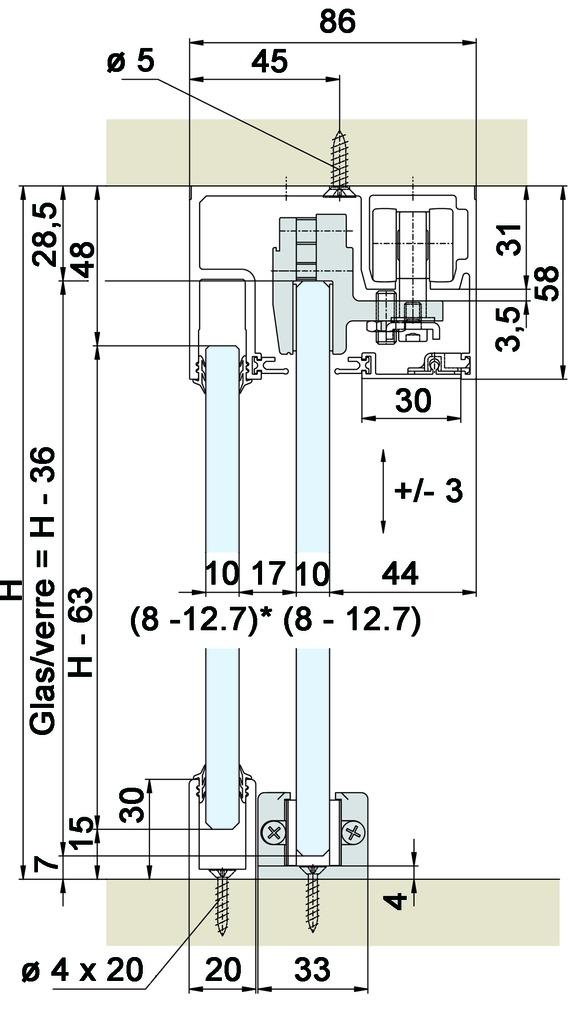 Ferramenta per ante scorrevoli EKU-PORTA 100 GW / GWF