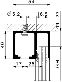 Kit di rotaie per HAWA-Junior con vetri fissi