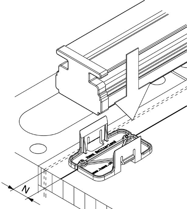 Einbetonierprofile HAWA-Adapto 80-120, Festverglasung