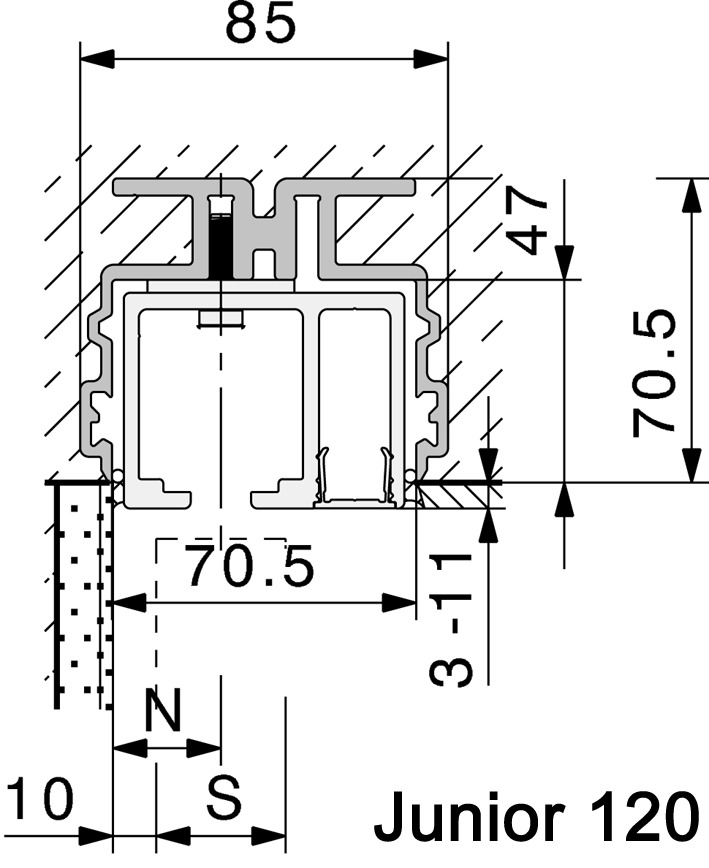 Profils à bétonner HAWA-Adapto 80-120, verre fixe