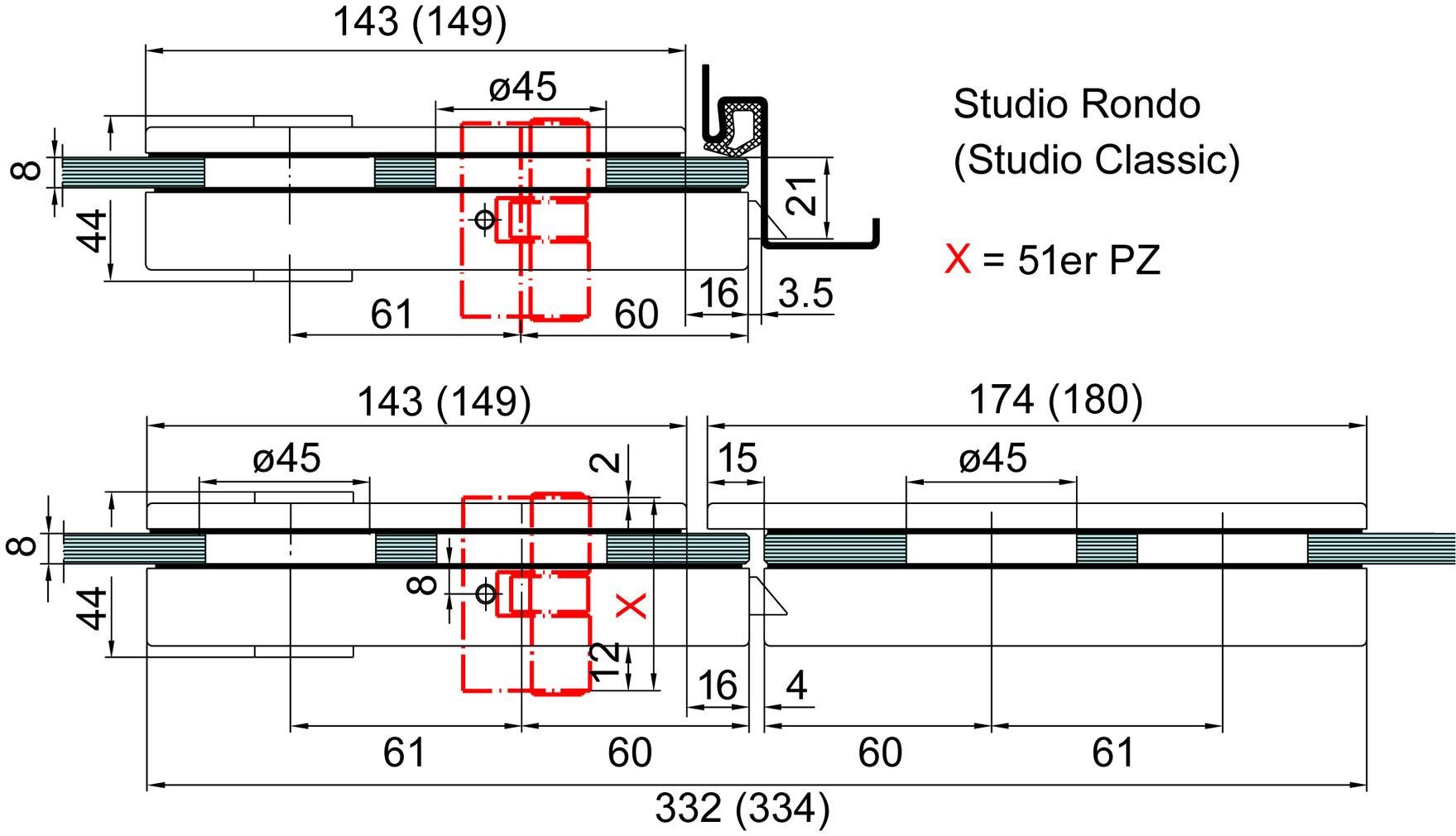 Glastürschloss DORMA Studio Classic