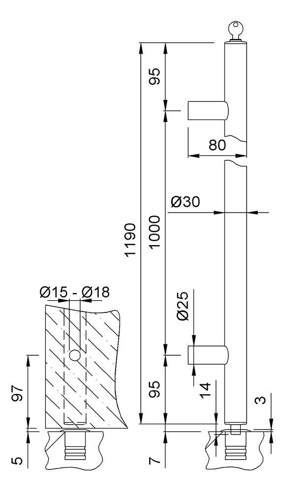 Abschliessbare Stossgriffe KWS 8199