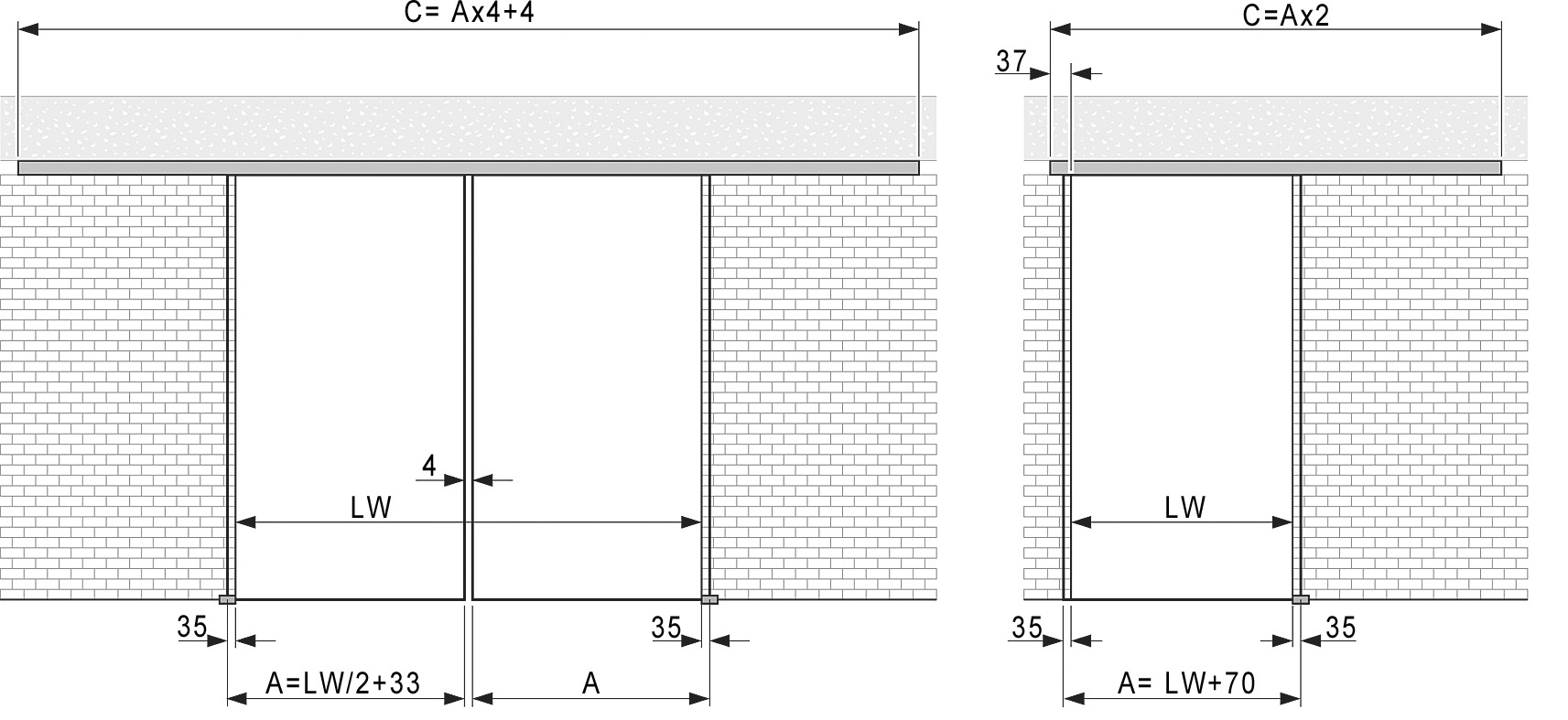Kit complet VITRIS Portavant 60, montage plafond