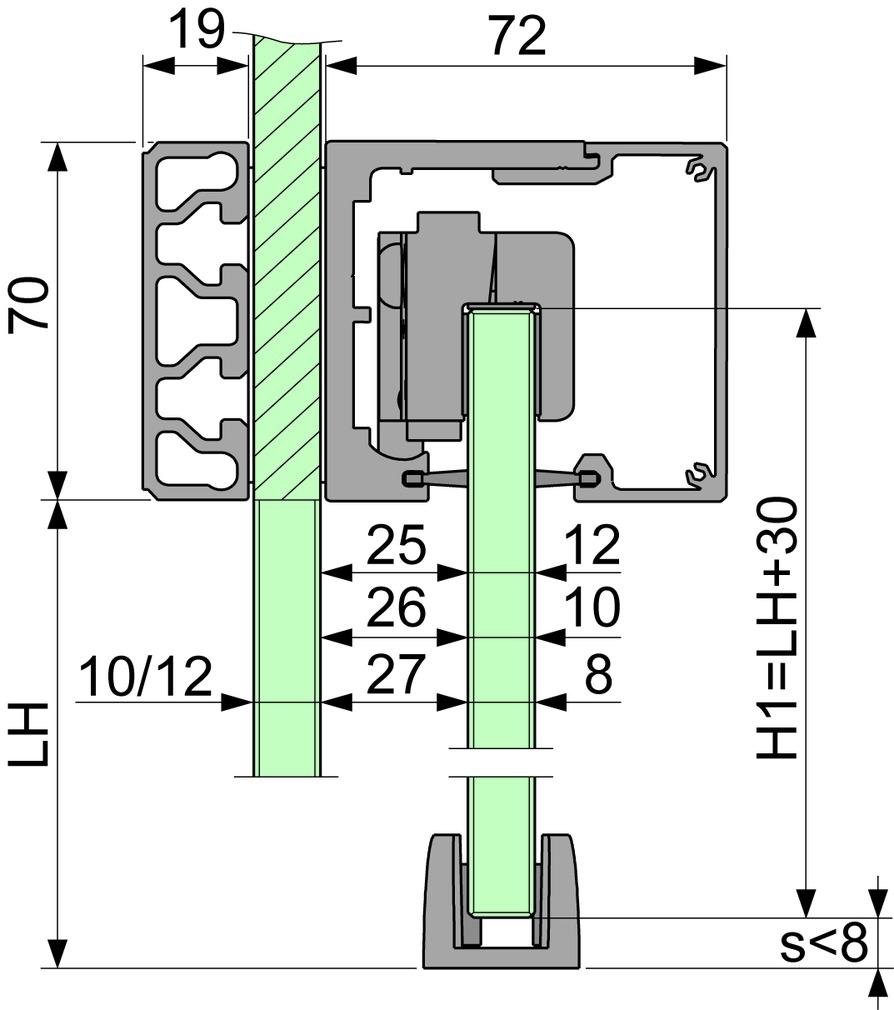 Ferrements pour portes coulissantes VITRIS Portavant 80 automatic, montage cloison en verre