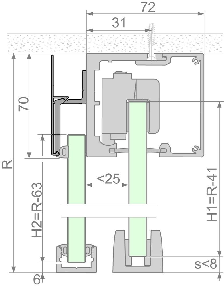 Kit complémentaire Portavant 60 twinline pour vantail fixe