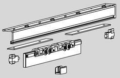 Kit completo senza profilo di copertura DORMA AGILE 50 ante con larghezza sino a 1200 mm
