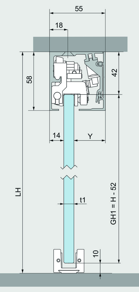 Set complet ferrements pour portes coulissantes DORMA MUTO 60, montage au plafond