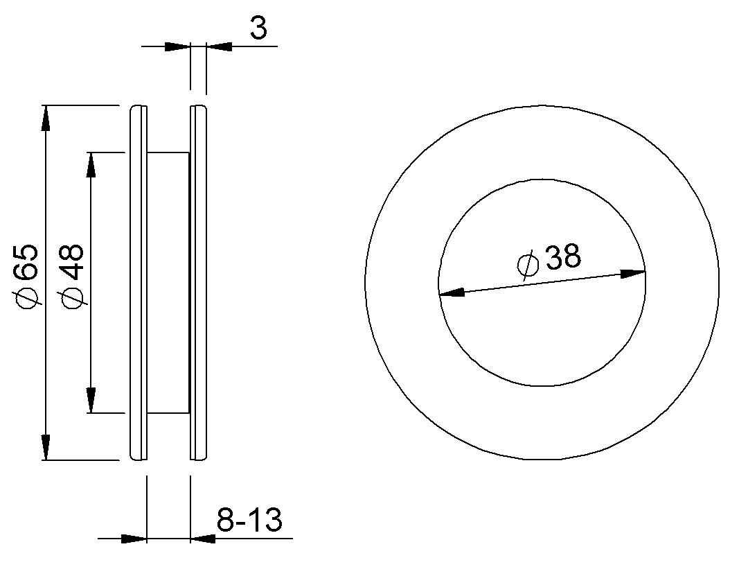 Poignées pour portes coulissantes en verre KWS 5255