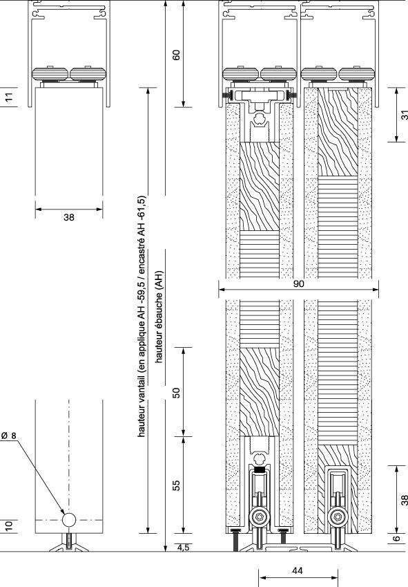 Ferrements pour portes coulissantes OK-LINE Slideflex RL 100