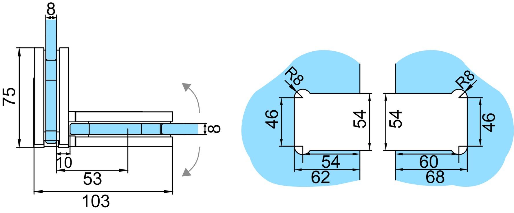 Duschpendeltürbänder GRAL BF 112