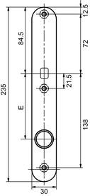 Cartelle lunghe esterne per pomelli GLUTZ 5345-30 K strette