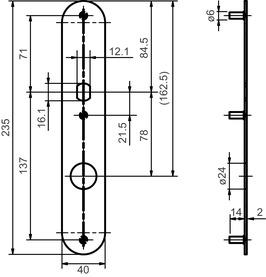 Türschilder aussen GLUTZ 5345 S mit Zylinderschutzeinsatz für Türknöpfe