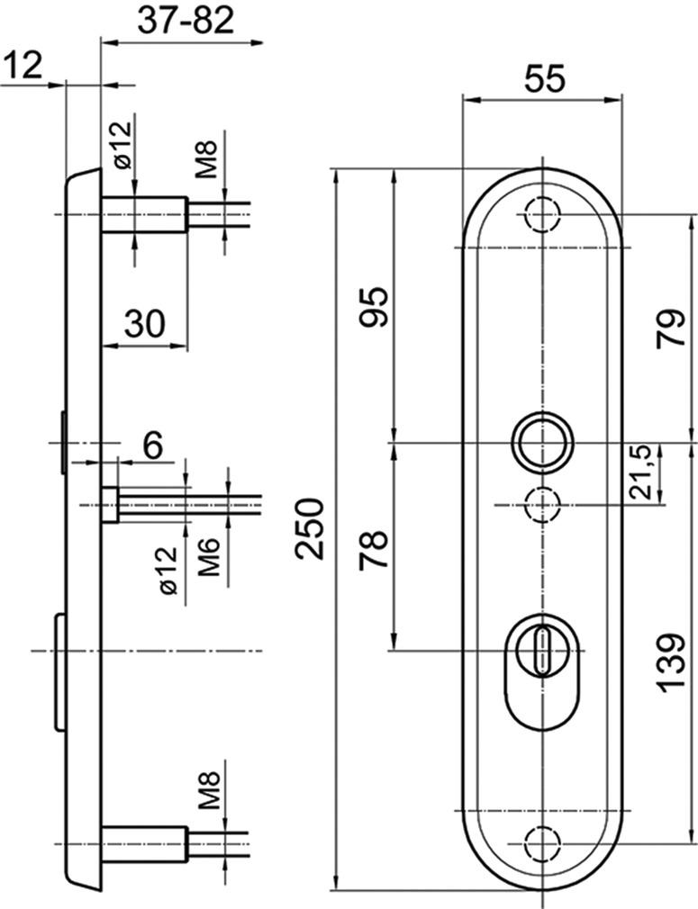 Schutztürschildgarnituren GLUTZ glide 5439