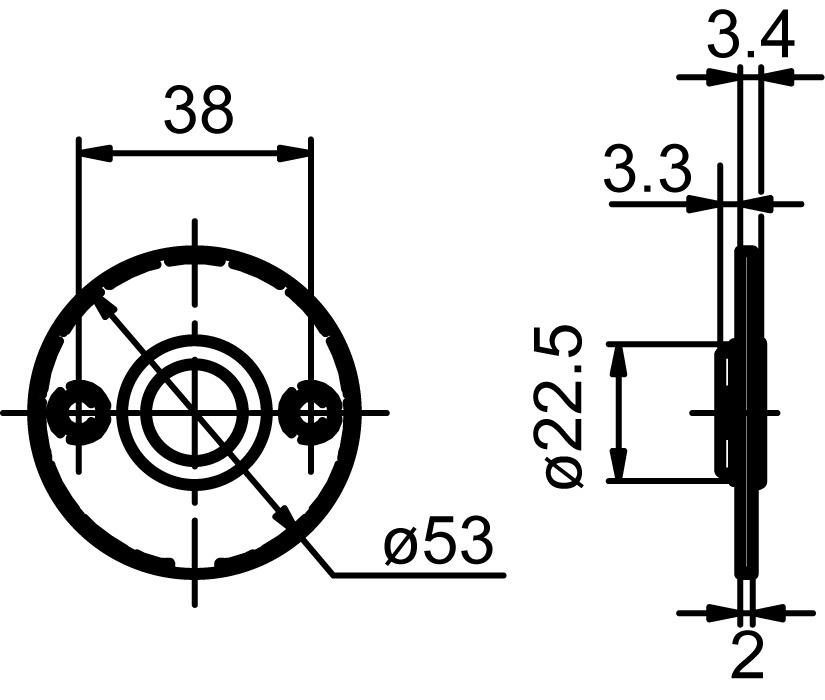 Piatto rosaces pour poignées GLUTZ glide 51030 intérieure