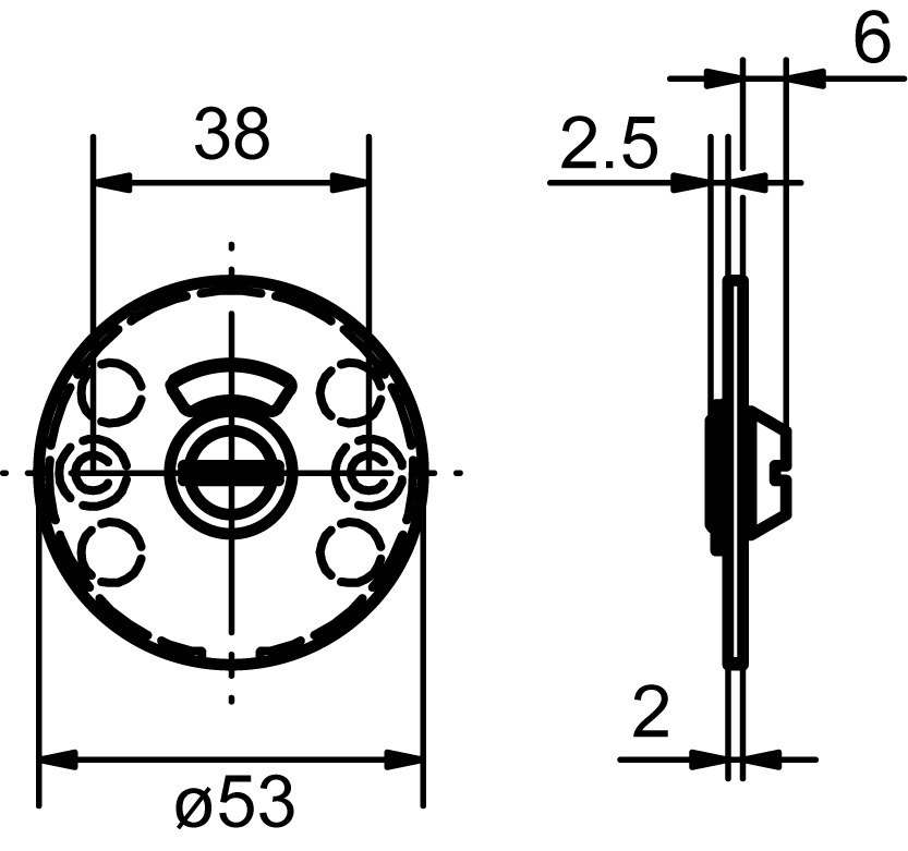 Piatto rosaces pour portes WC GLUTZ 51031.4 extérieure