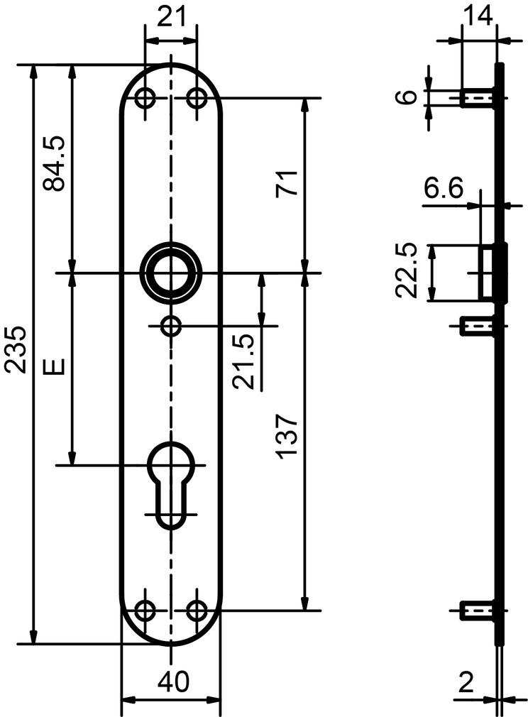 Piatto cartelle lunghe GLUTZ glide 52048 esterna