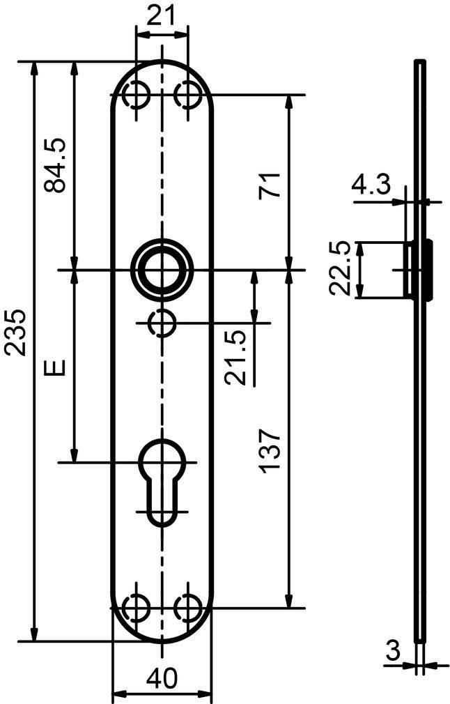 Piatto cartelle lunghe GLUTZ glide 52047 interna