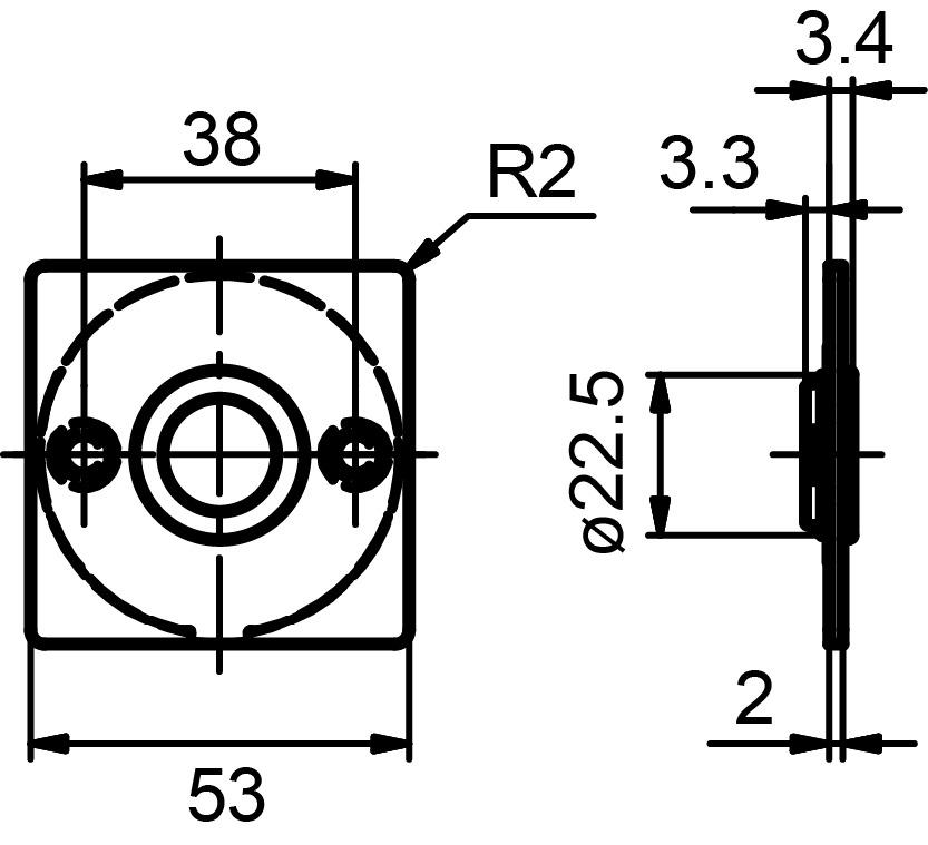Piatto rosaces pour poignées GLUTZ glide 51032 intérieure