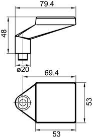 Boutons de porte coudé GLUTZ 5844