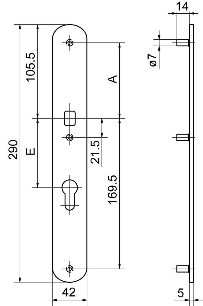 Cartelle lunghe esterne per pomelli GLUTZ 52154K/52156K