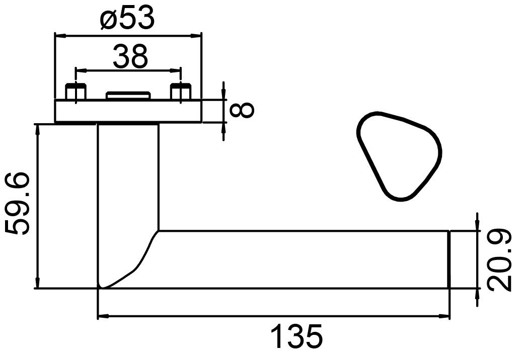 Garnitures de poignées de porte GRIFFWERK Tri 134 Professional