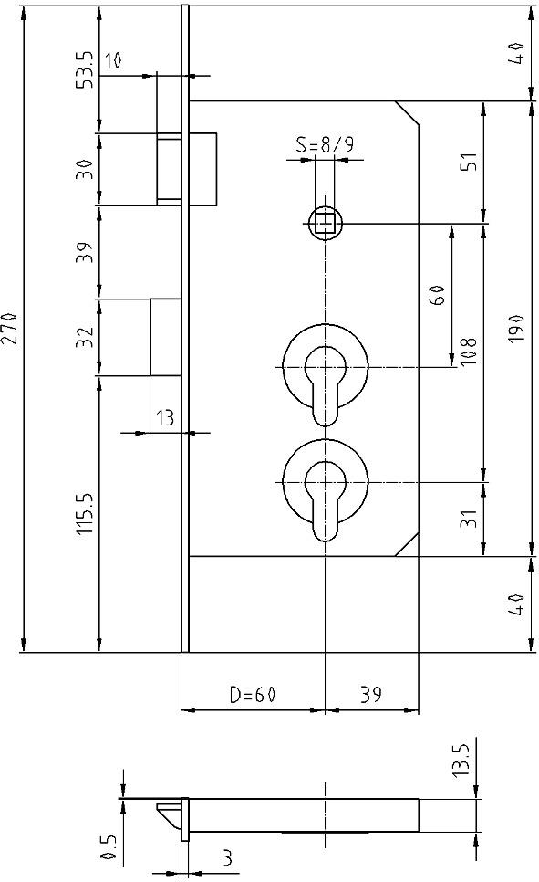 Serrature d'infilare con fori per 2 cilindri GLUTZ 1204