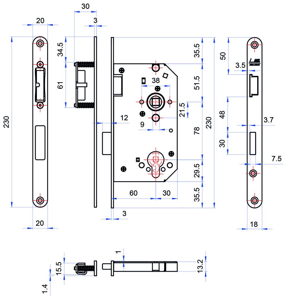 Einsteckschlösser MSL CASA Gamma 1113-Blockschloss / Magnetschloss